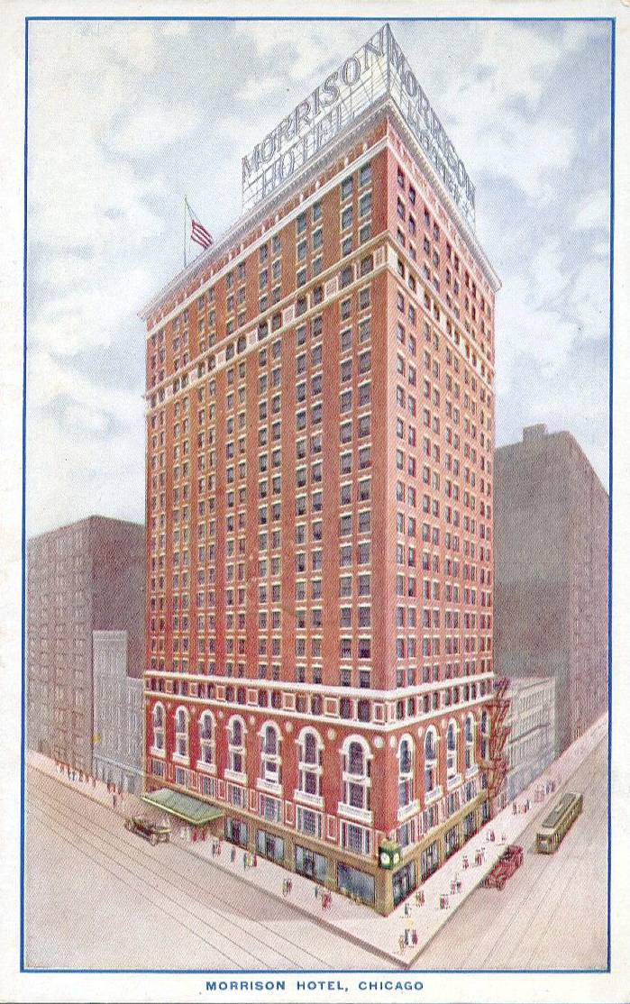 POSTCARD - CHICAGO - MORRISON HOTEL - CORNER AERIAL VIEW - NOTE ROOF SIGN AND CORNER CLOCK - TINTED - 1925