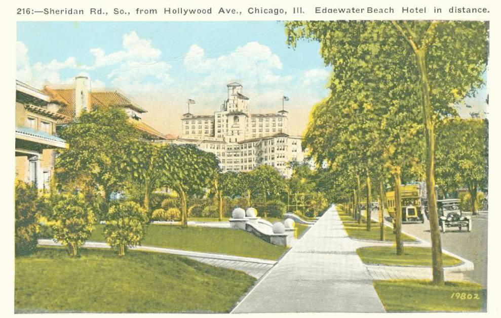 POSTCARD - CHICAGO - SHERIDAN ROAD - S FROM HOLLYWOOD - EDGEWATER BEACH HOTEL IN DISTANCE - TINTED - 1920s