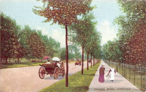 POSTCARD - CHICAGO - DREXEL BLVD - TWO WOMEN WITH BABY - CARRIAGES - TINTED - c1910