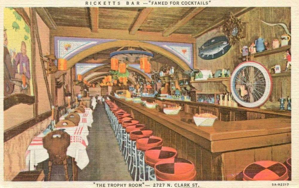 POSTCARD - CHICAGO - RICKETTS BAR - THE TROPHY ROOM - 2727 N CLARK - FAMED FOR COCKTAILS - EARLIER LOCATION - 1936