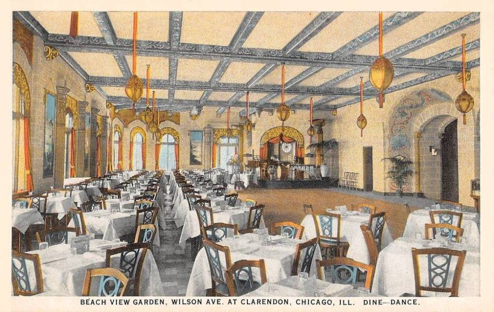 POSTCARD - CHICAGO - BEACH VIEW GARDEN RESTAURANT - WILSON AVE AT CLARENDON - INTERIOR - DINE - DANCE