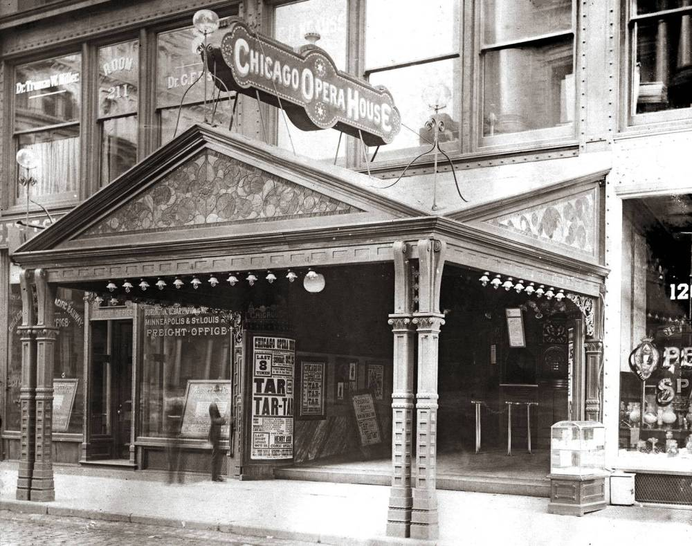 PHOTO - CHICAGO - CHICAGO OPERA HOUSE - WASHINGTON AND CLARK - SW CORNER - 1891