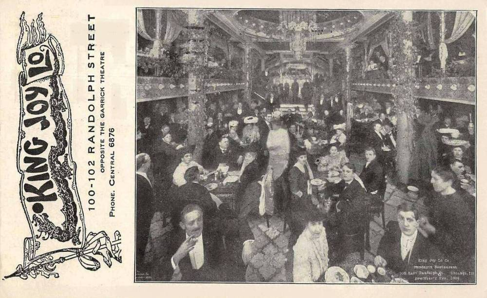 POSTCARD - CHICAGO - KING JOY LO RESTAURANT - 100-102 RANDOLPH - OPPOSITE GARRICK THEATRE - DINING ROOM CROWD FOR NEW YEARS EVE CELEBRATION - NICE VERSION - 1906